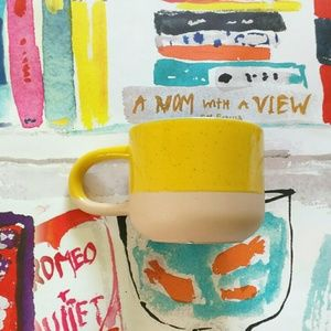 NEW Starbucks Ceramic Yellow Blue Long Handle Mug